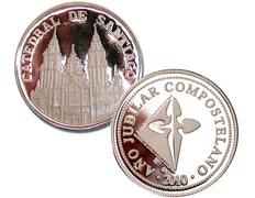 Silver coin souvenir of the Cathedral of Santiago