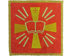 Palia embroidered Alpha and Omega | Sets-Altar red
