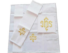 Set of altar with JHS embroidered with gold thread