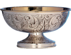 Paten of silver embossed