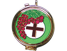 Porta viaticum with a bunch of grapes and a Cross enamelled