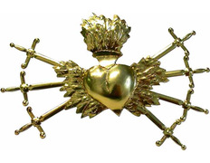 Sacred golden heart with seven daggers