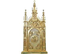 Tabernacle of bronze with the exhibitor for Blessed Sacrament
