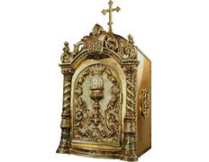 Tabernacle with a door engraved with liturgical elements