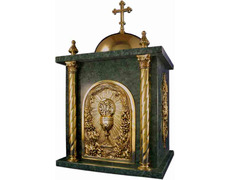 Tabernacle of bronze and marble chalice chiseled
