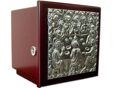 Tabernacle of wood with Last supper relief