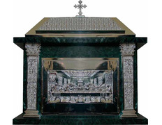 Tabernacle of marble and bronze with silver bath