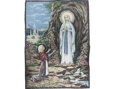 Virgin Lourdes tapestry wall hanging