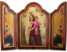 Triptych on wood of the Virgin of the Carmen