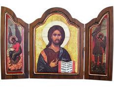 Triptych icon byzantine Pantocrator