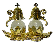 Cruets glass stopper and metal tray golden