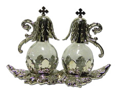 Cruets glass stopper and tray, silver plated metal