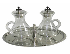 Cruets with handle and glass tray silver