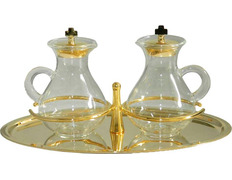 Cruets with handle and glass tray gold