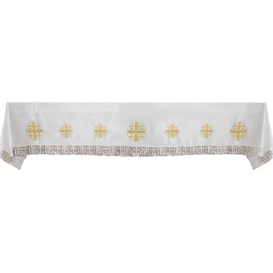 Tablecloth altar with the cross of Jerusalem